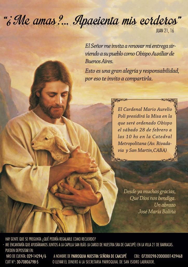 Invitación a la ordenación episcopal de José Mª BALIÑA en Buenos Aires